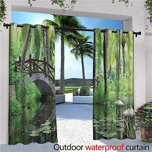 Zen Garden Outdoor Privacy Curtain for Pergola Green Landscape in South China Palm Trees and Bushes Lush Growth Nature Thermal Insulated Water Repellent Drape for Balcony W120
