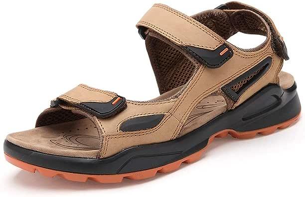 HHF Plano Sandalias y zapatillas, El agua al aire libre for los hombres sandalias, resbalón en cuero genuino del estilo de gancho y LoopStrap zapatillas, zapatos de deportes al aire libre Ligera flexi