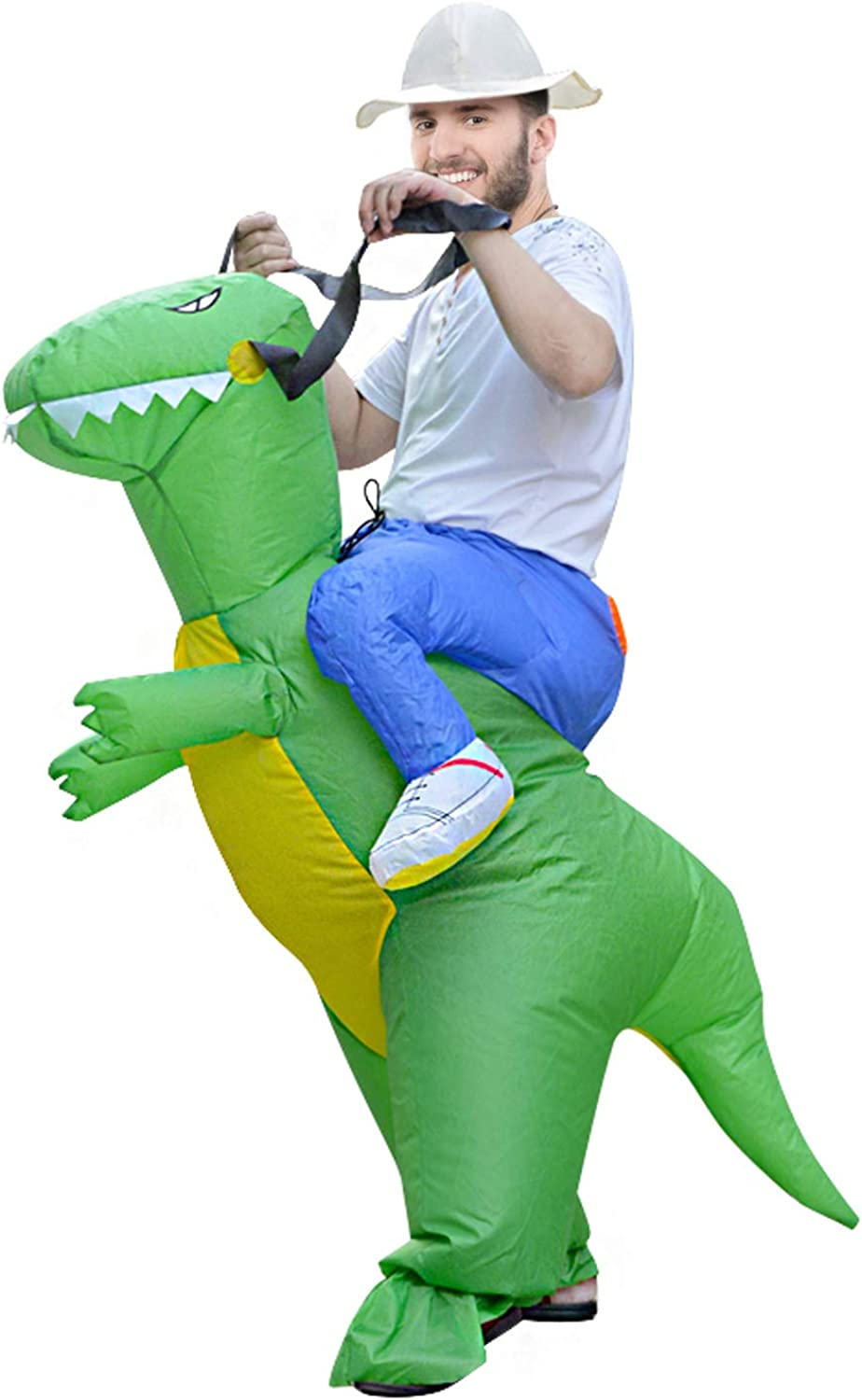 MH ZONE Inflatable Dinosaur Costumes for Adult, Adult Funny Halloween Costumes T-Rex Costume Adult Size Dinosaur Suit (Adult Dinosaur)