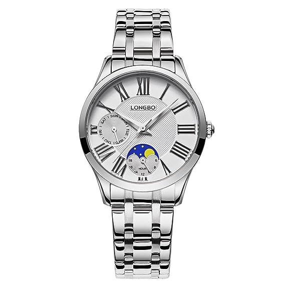 Longbo MUJER lujo banda de acero inoxidable negocio relojes decorativo ojo de fase de la luna