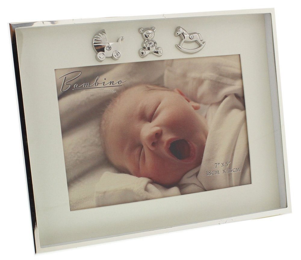 Charming and Simplistic Silver and Ivory Newborn Baby 7'' x 5'' Photo Frame by Haysom Interiors