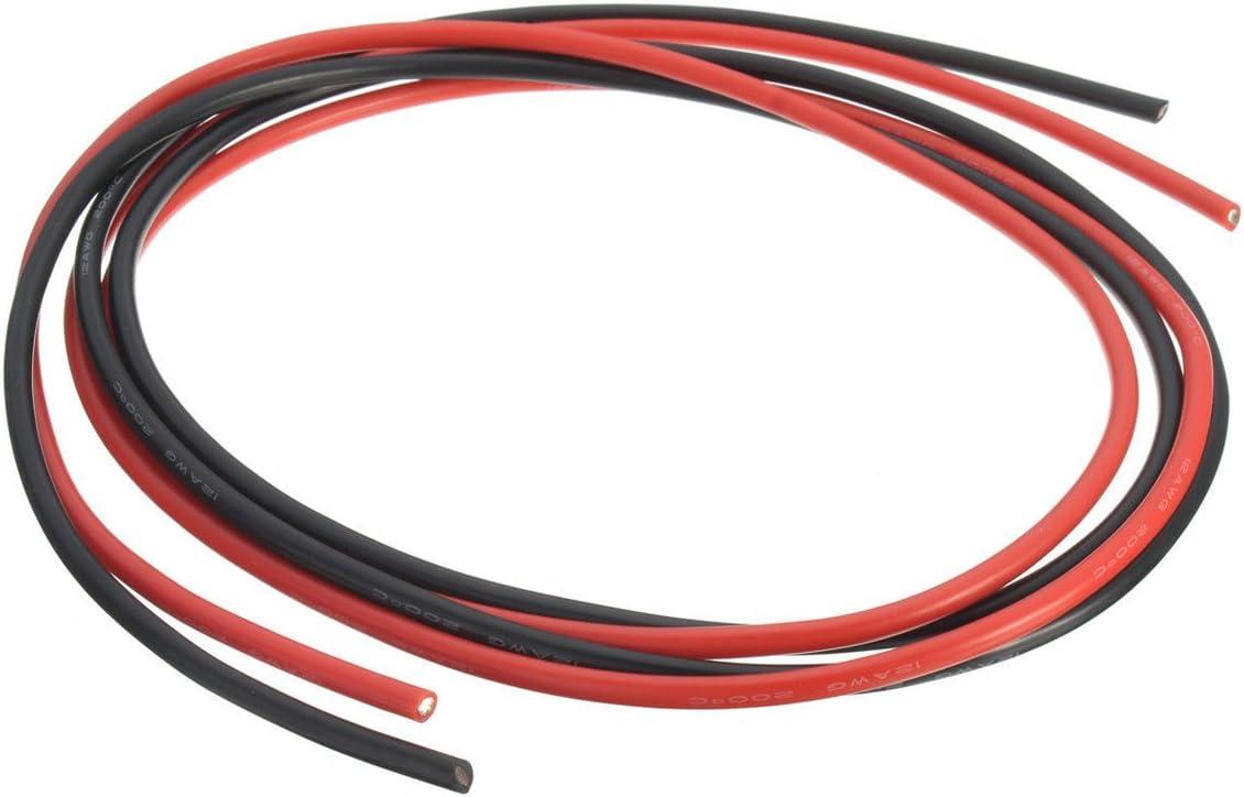 1m-10m Flexible Silikon Drahtkabel 6AWG8AWG12AWG16AWG Schwarz Rot Super Soft