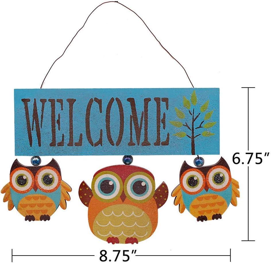 Wood Owls Welcome Sign Cute Door Hanging Welcome Plaque Decor
