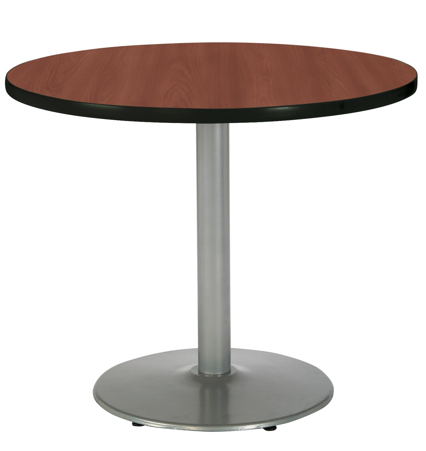 KFI Seating Round Pedestal Table with Round Silver Base, Commercial Grade, 36-Inch, Dark Mahogany Laminate, Made in the USA