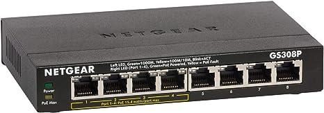 NETGEAR GS308P-100UKS 8-Port Gigabit Switch with 4-Port PoE Black