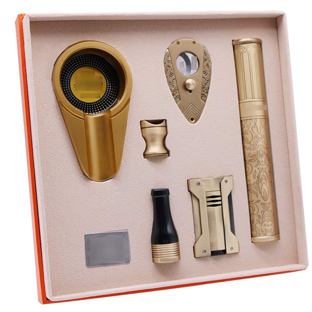 Cigar Smoking Gift Set, Brass Cigar Holder, Ashtray, Cigarette Holder, Cigar Tube 6 Piece Set