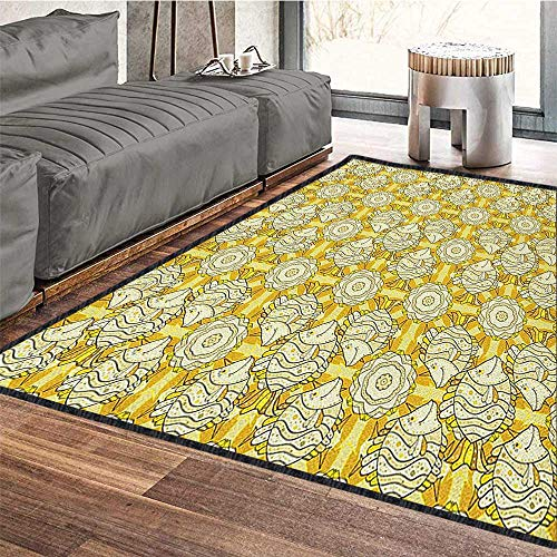 Yellow and White Colorful Area Rug,Aquarium Fishes with Stripes on Floral Composition Background for Dining Room Bedroom Marigold Beige Yellow 79