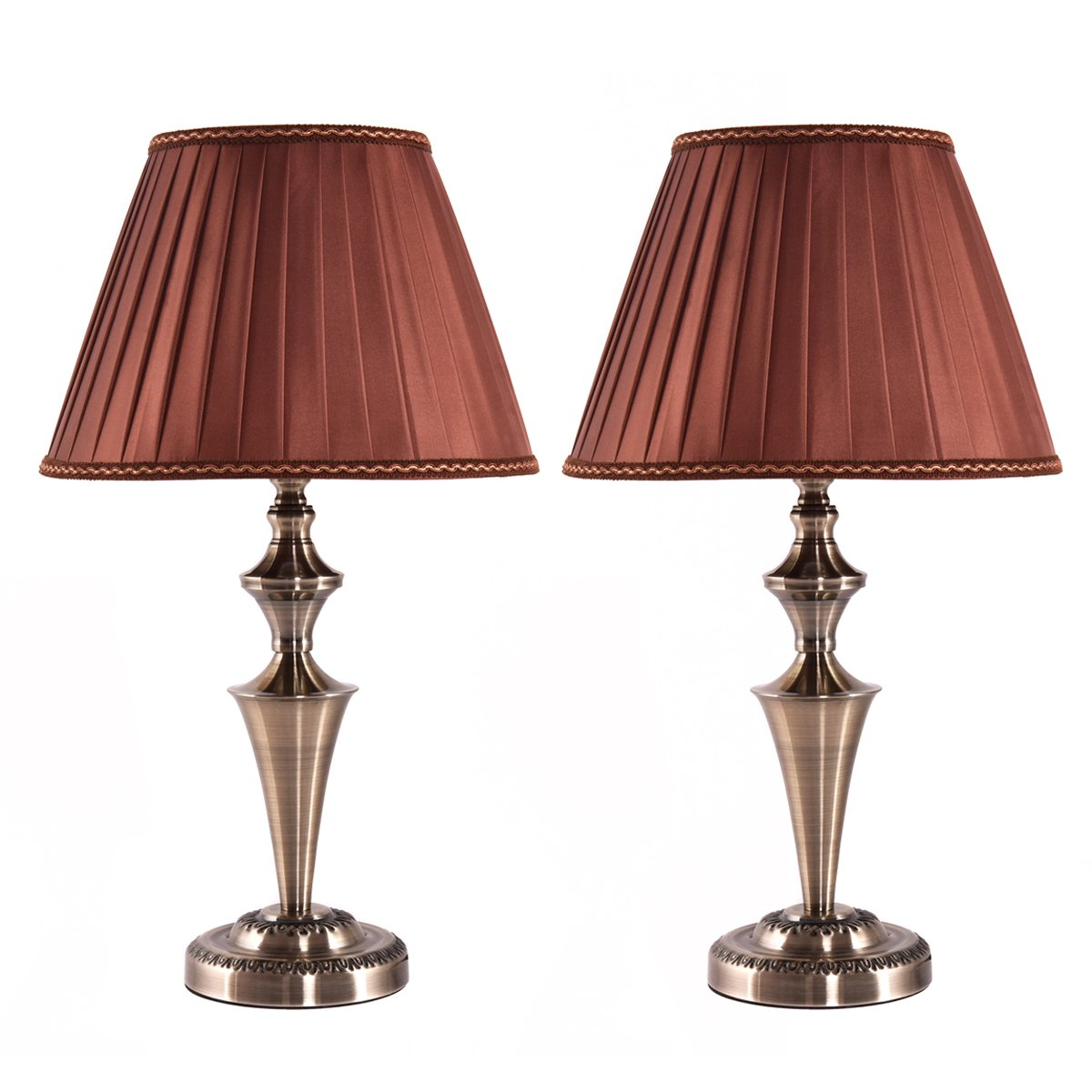 Costzon Bedside Table Lamp, Traditional Elegant Steel Base, Antique Style with Champagne Fabric Shade Bulb for Bedroom Living Room Coffee Desk Lamp, Include LED Bulb, Cord (Brass, Set of 2)