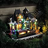 LED Christmas Village Scene with Moving Train
