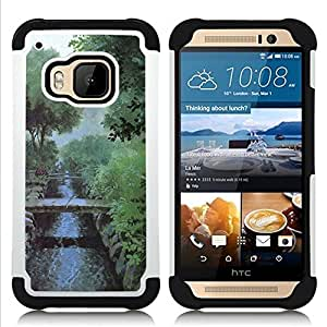 - Nature Misty Morning/ H??brido 3in1 Deluxe Impreso duro Soft Alto Impacto caja de la armadura Defender - SHIMIN CAO - For HTC ONE M9