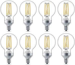 Philips LED Classic Glass Dimmable G16.5 Light Bulb: 350-Lumen, 2700-Kelvin, 3.8 Watt, E12 Base, Warm Glow, 8-Pack