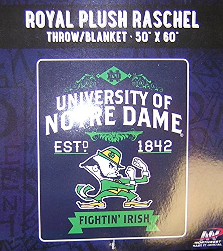 The Northwest Company Officially Licensed NCAA Notre Dame Fighting Irish College Label Plush Raschel Throw Blanket, 50