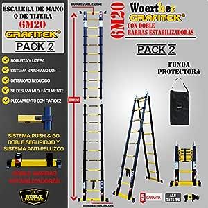 ESCALERA DE TIJERA TELESCÓPICA TRIPLE FUNCIÓN / 6M20-3M10 /CON FUNDA / GAMA GRAFITEK / CON DOBLE BARRAS RUEDINES / GARANTÍA 5 AÑOS: Amazon.es: Bricolaje y herramientas