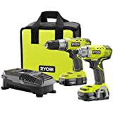 Ryobi P1832 18V One+ Handheld Drill/Driver and Impact Driver Kit (6 Piece Bundle, 1x P277 Drill / Driver, 1x P235 Impact Driver, 1x P118 Dual Chemistry Charger, 2x P102 18V One+ Lithium Ion Batteries, 1x Tool Bag)