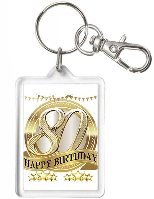 80th cumpleaños regalo llavero, llavero, puede ser ...