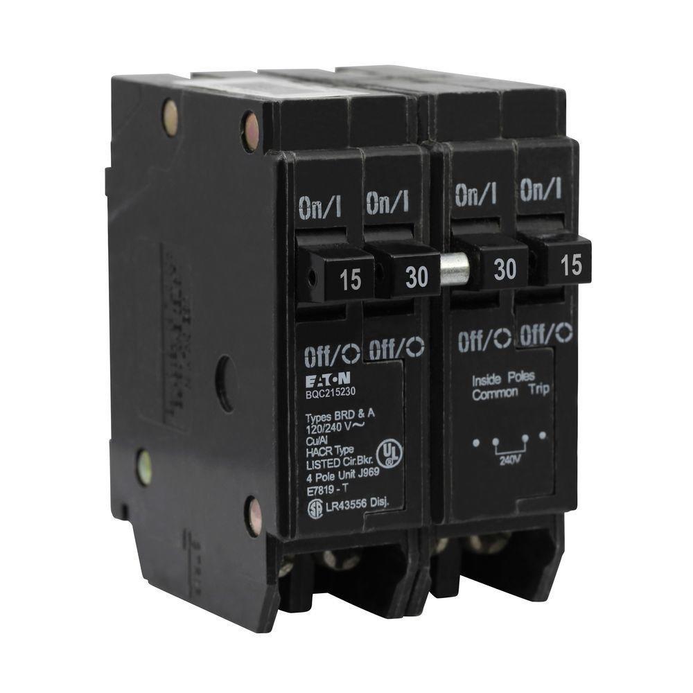 Eaton One 15 Amp 2 Pole and One 30 Amp 2 Pole Type BR, BQC Quadplex Circuit Breaker