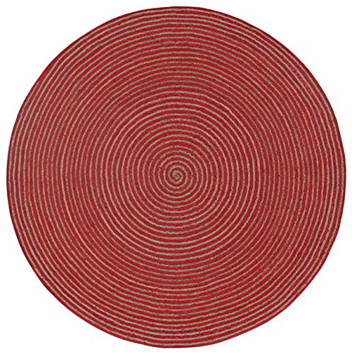 Earth First Natural Hemp/Cotton Racetrack Round Rug, 6-Feet by 6-Feet, ()