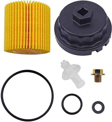 Genuine Toyota ENGINE OIL FILTER with Genuine Toyota HOUSING CAP includes drain plug and crush washer