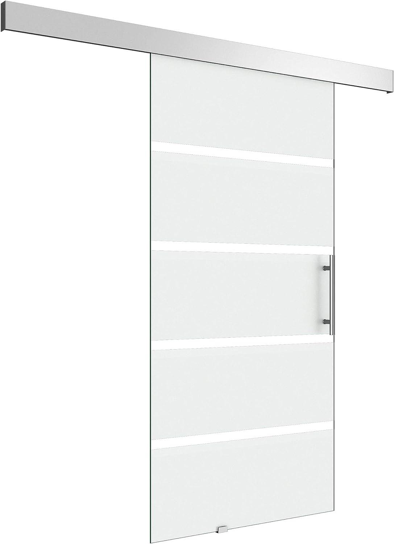BxH: 100 x 205 cm Diseño Puerta Corredera de Cristal almafi TS13 – 1000sc, con sistema de cierre suave, vidrio templado con 5 de leche Cristal de rayas, con barra para puerta