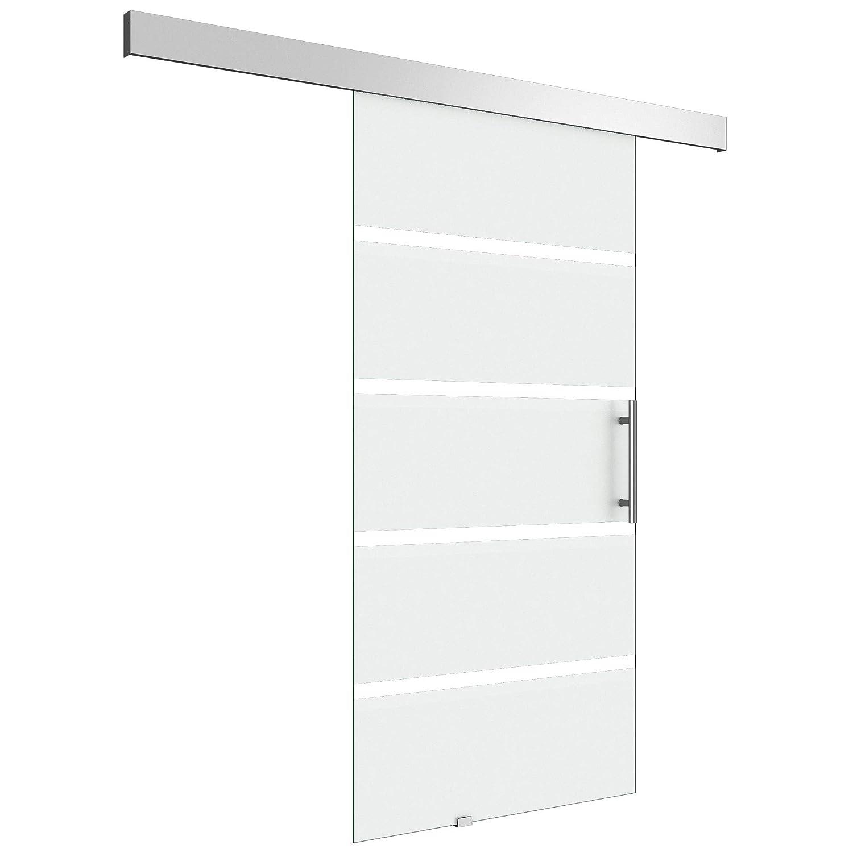 Sogood porte coulissante int/érieure en verre 77,5cm x 205cm porte glissante pour chambre cuisine buro poign/ée de porte ronde Amalfi TS11-775SC