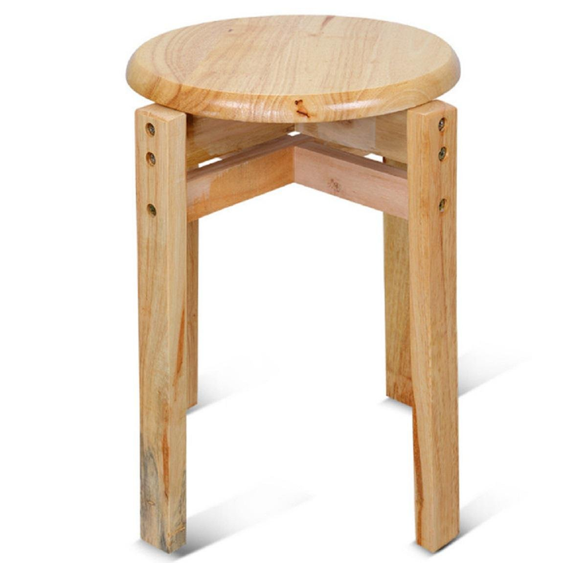 GAOJIAN Solid Wood Round Stool High-Foot Round Chair Living Room Small Stool Reinforcement Oak House Restaurant Small Round Stool High 44Cm Wide 29Cm