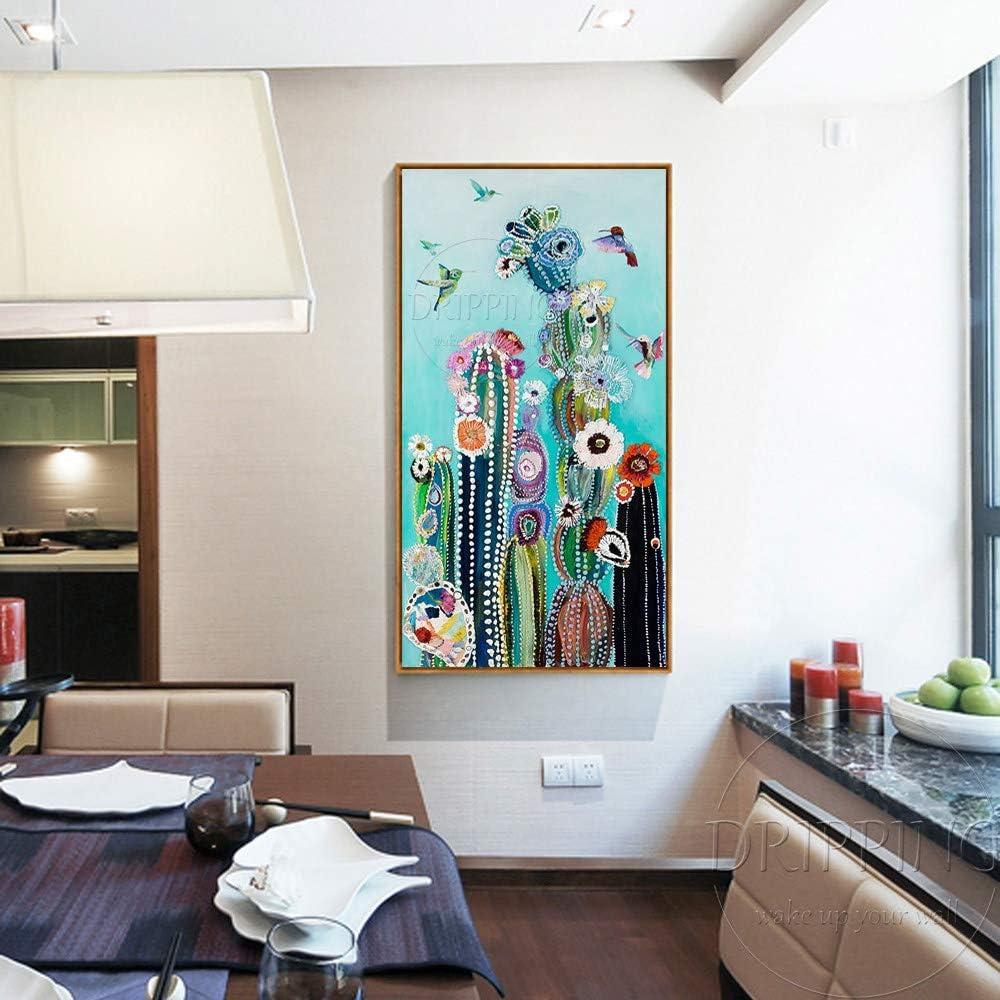 AFASSW Tela Colorata Dipinto Artistico Dipinto a Mano Colori Vivaci Piante Olio Dipinto Uccelli e Cactus Olio Pittura per Soggiorno Grande Originale Dipinto a Mano Tela 40/×80cm 15/×31 inch