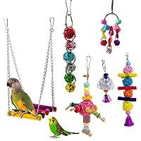 CHOUREN 6Pcs/Set Beaks Metal Rope Small Parrots Budgie Cockatiel Cage Bird Toys Kit