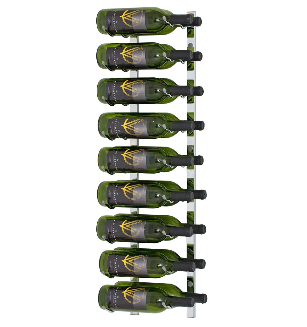 18 Bottle Vintage View Wall-Mounted Wine Rack (WS32 - 3 Foot), Chrome Plated