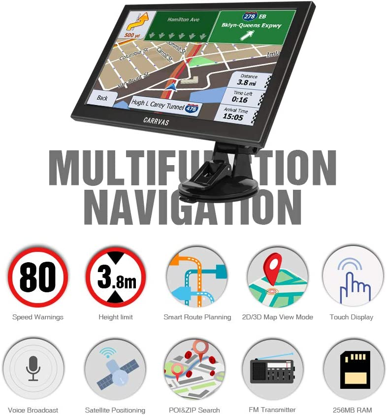 Speed Camera Prompt CARRVAS 9 inch GPS Navigation for Truck/& car HD Truck Satellite Navigation System with Truck Height Limit Prompt Prompt Voice Guidance Poi Truck Map