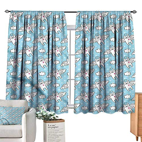 WinfreyDecor Angel Sliding Curtains Cat Angels Hearts Kitty Privacy Protection 55