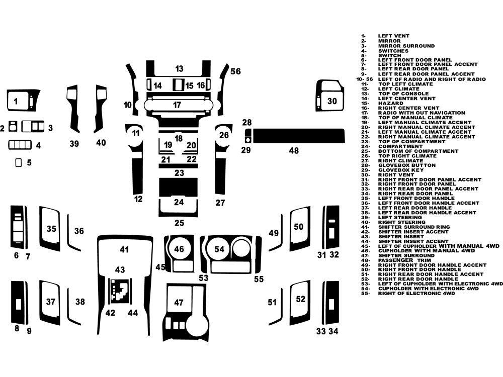 Rdash Dash Kit Decal Trim for Toyota 4Runner 2010-2014 - Matte (Silver) Rvinyl