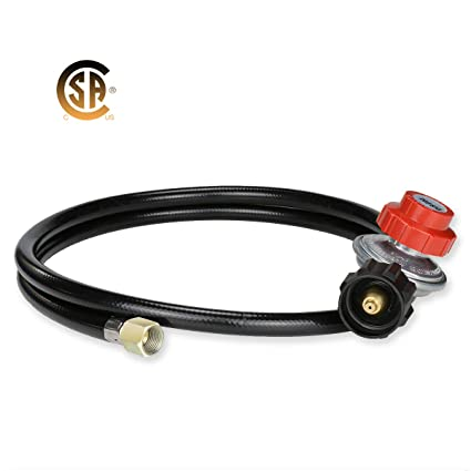 GASLAND Propane Regulator, Adjustable 0-20 PSI High Pressure Regulator with  5 feet Propane Hose, CSA Certified QCC1 Type1 Propane Gas Regulator Grill