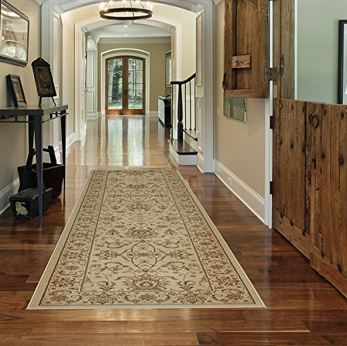 Gertmenian 78125 Traditional Rug Platinum High Density Persian Carpet, 2' x 9', Long Runner, Ivory Border (Rug Kashan Royal)