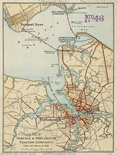 Imagekind Wall Art Print Entitled Vintage Map of Norfolk and Portsmouth VA (1919) by Alleycatshirts @Zazzle | 24 x 32 - Norfolk Vertical Wall