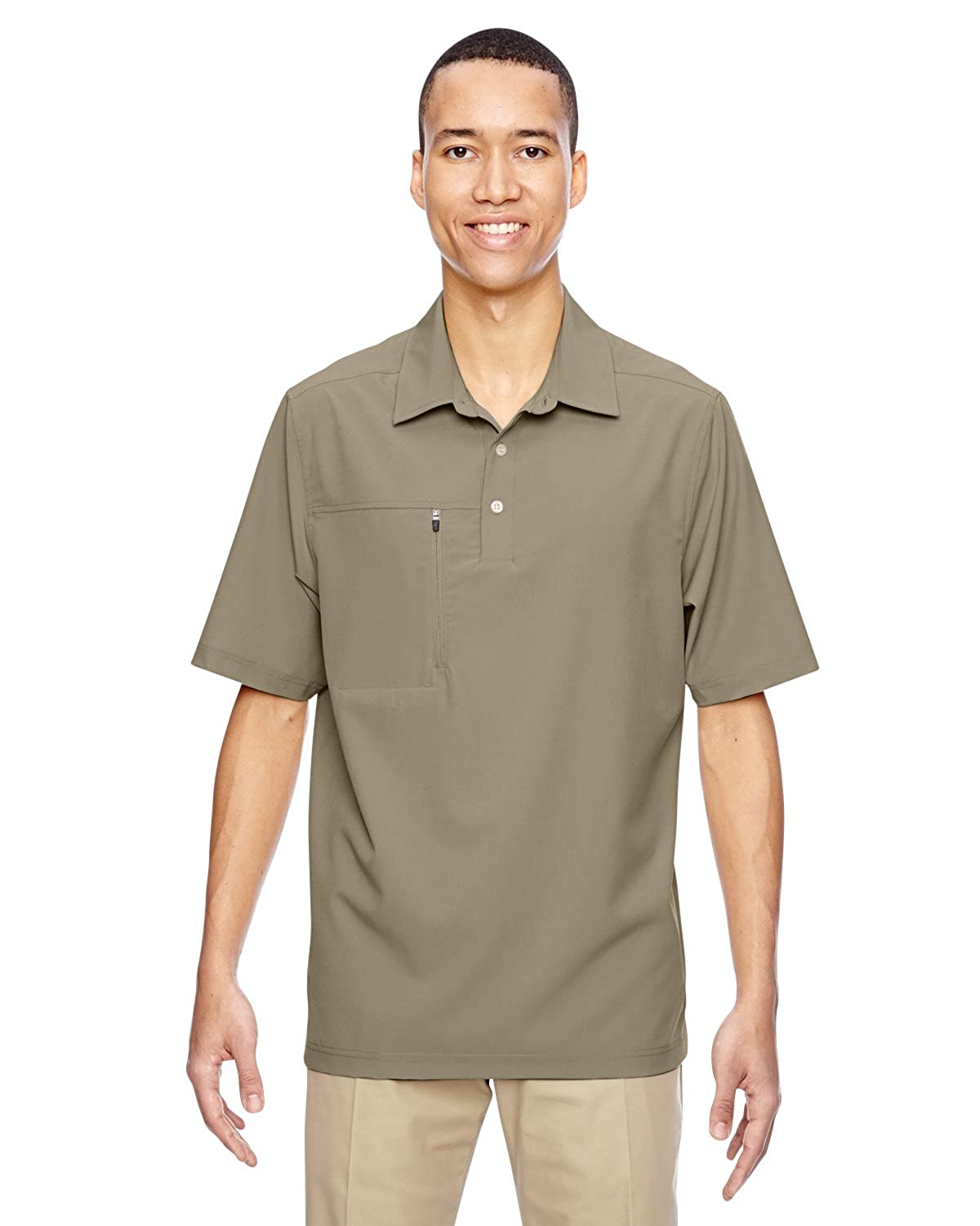 North End 85120 Mens Excursion Crosscheck Performance Woven Polo