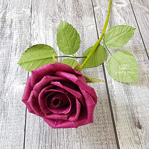 Burgundy Paper Rose Anniversary Paper Gifts for Her Handmade Realistic Crepe Paper Flowers for Wedding, Birthday, Christmas, Valentine,Mother's Day, Dark Red Wine Color, 01 Single Long Stem