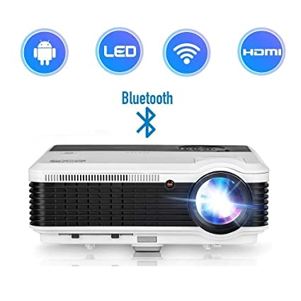 2019 Android HD LCD Projector Bluetooth LED 3900 Lux LED Multimedia Home Theater Wireless Projectors Airplay WiFi Support iPhone iPad HDMI VGA USB RCA ...