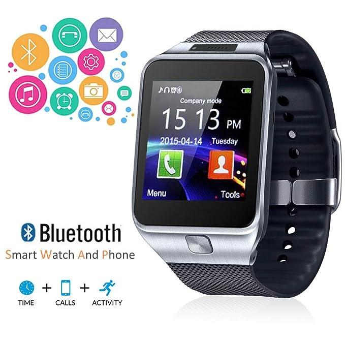 Indigi® SWAP2 reloj teléfono celular GSM Bluetooth pantalla táctil MP3 Cámara espía en & T/T-Mobile desbloqueado. (plata): Amazon.es: Electrónica