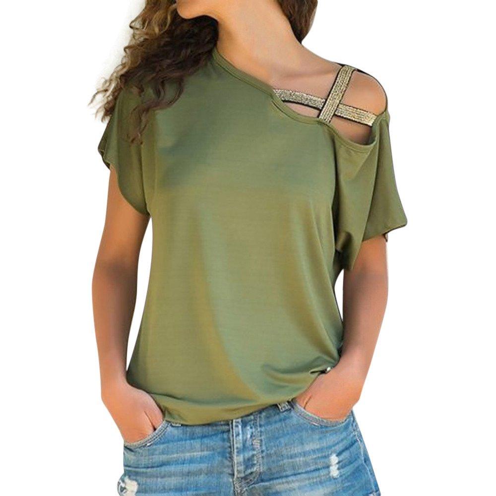 Women T-Shirts Casual Short Sleeve Lady Open Shoulder T-Shirt Top Green