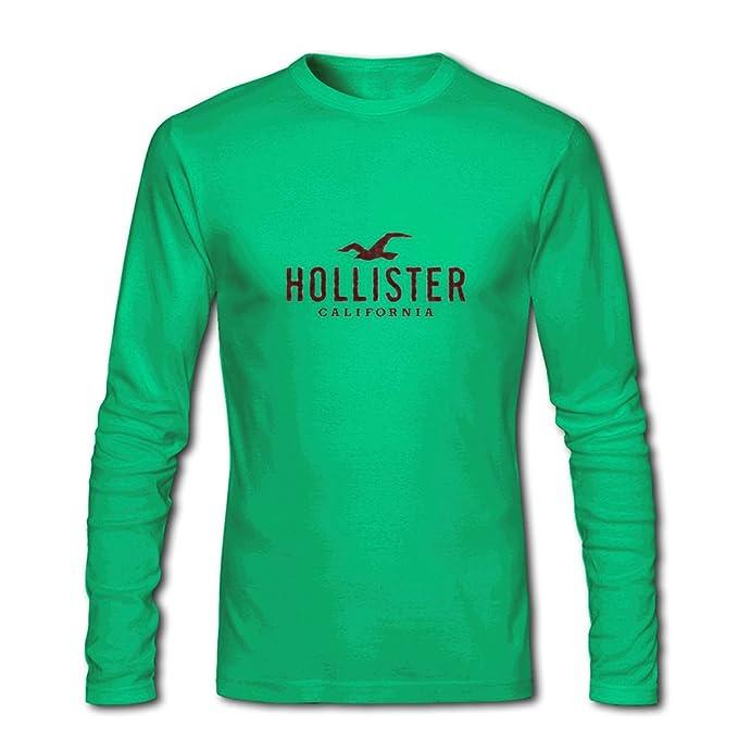 Amazon.com  Hollister California for Men Printed Long Sleeve Cotton T-shirt   Clothing 8e695788e59e2