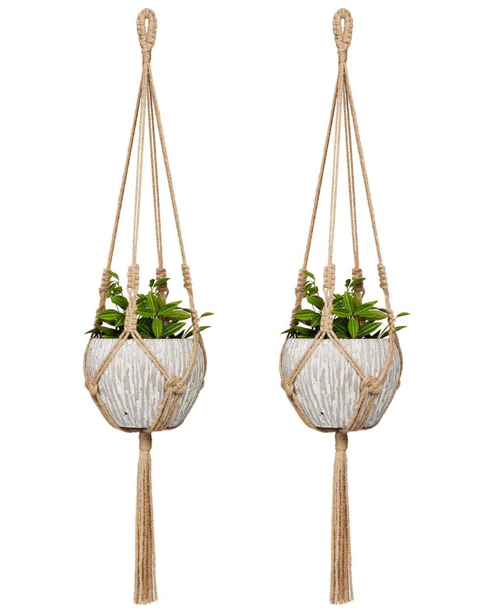 Mkono Small Macrame Plant Hangers Jute Hanging Planter 30 Inch Fit Small Pot Up to 6 Inch Indoor Wall Window Container Holder Basket Home Decor, 2 Packs