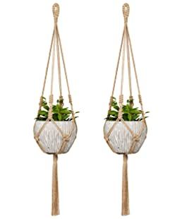 Mkono Small Macrame Plant Hangers Jute Hanging Planter 30 Inch (Fit Small Pot Up to 6 Inch) Decorative Flower Pot Holder for Indoor Outdoor Home Decor(Pot NOT Include), 2 Packs