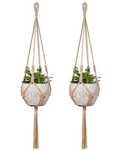 Amazon Com Mkono Small Macrame Plant Hangers Jute Hanging Planter