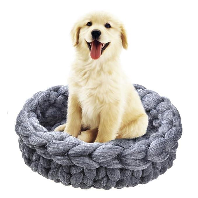 Gere Ton Chunky hilo mascotas Nest Durable Woolen Knitting gato cama hecha a mano grosor lana Perros luces Kennel Pet cama Pet Cage Mat para pequeños perros ...
