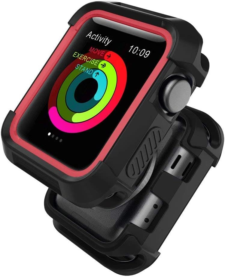 Compatible with Watch Case 42mm, Shock Proof Bumper Cover Scratch Resistant Protective Rugged Case Replacement for Series 3/2/1 42mm, Nike+, Black/Red