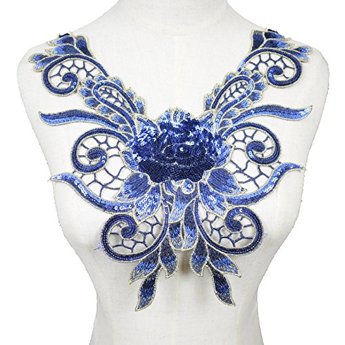 1 Pcs Blue/Green / Pink Sequins Embroidered Floral Lace Neckline Neck Collar Trim Clothes Sewing Applique Style Embroidery Edge Scrapbooking (Blue)