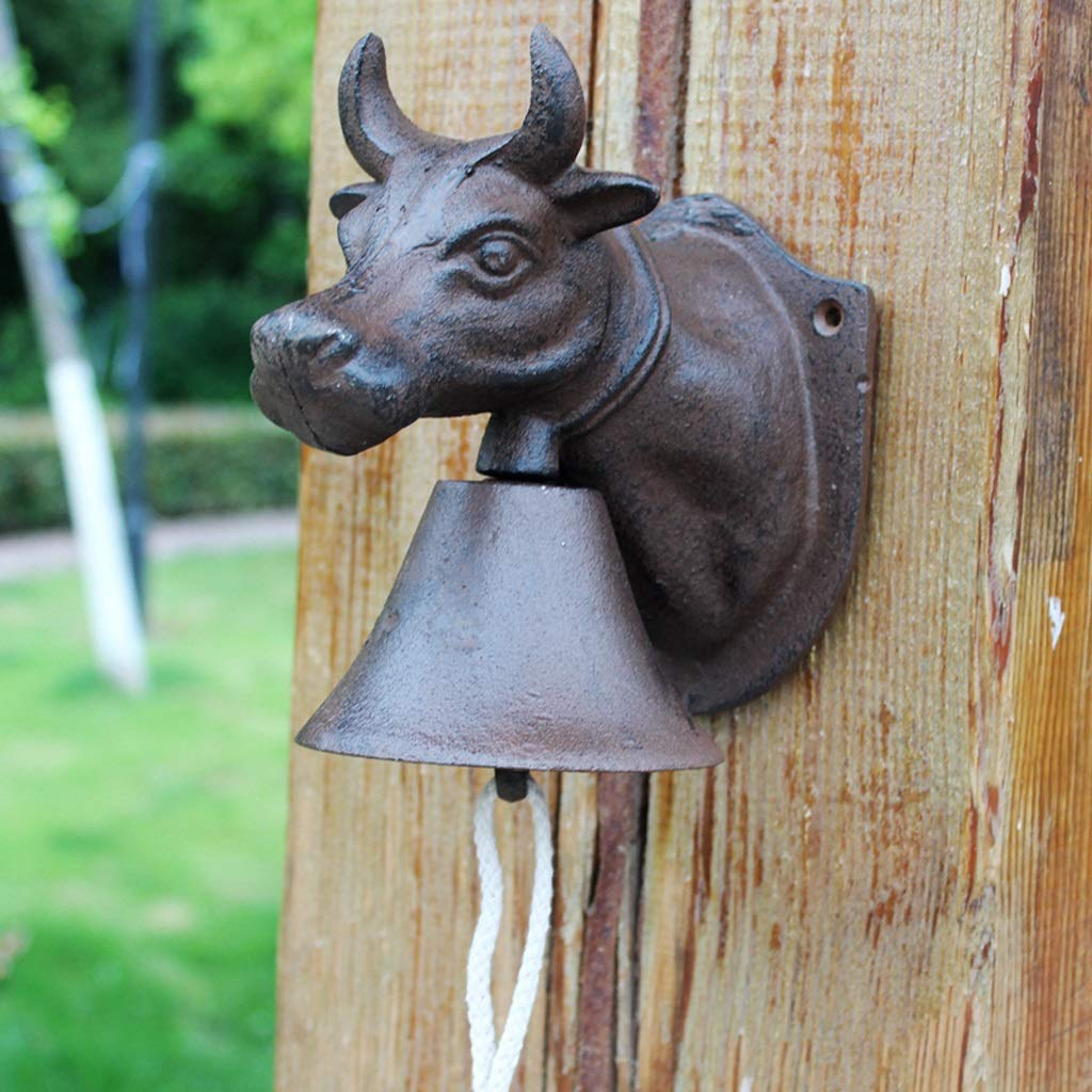LBYMYB Vintage Cast Iron Doorbell Cow Head Wrought Iron Bell Cafe Wall Decoration Pendant Crafts 16x11x17cm doorbell
