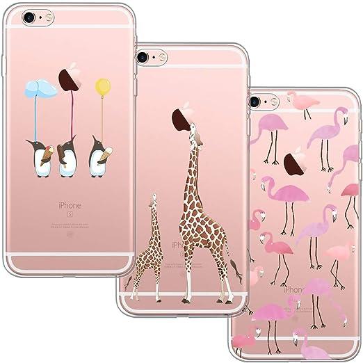 blossom01 [3 Stück] iPhone 6 Hülle, iPhone 6S Hülle, Cute Funny Kreative Cartoon Transparent Silikon Bumper für iPhone 6 / 6S