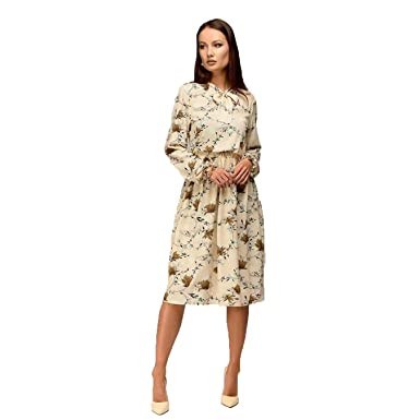 568586f9020 Women Casual Knee-Length Dress Long Sleeve Printing Summer Dress for ...