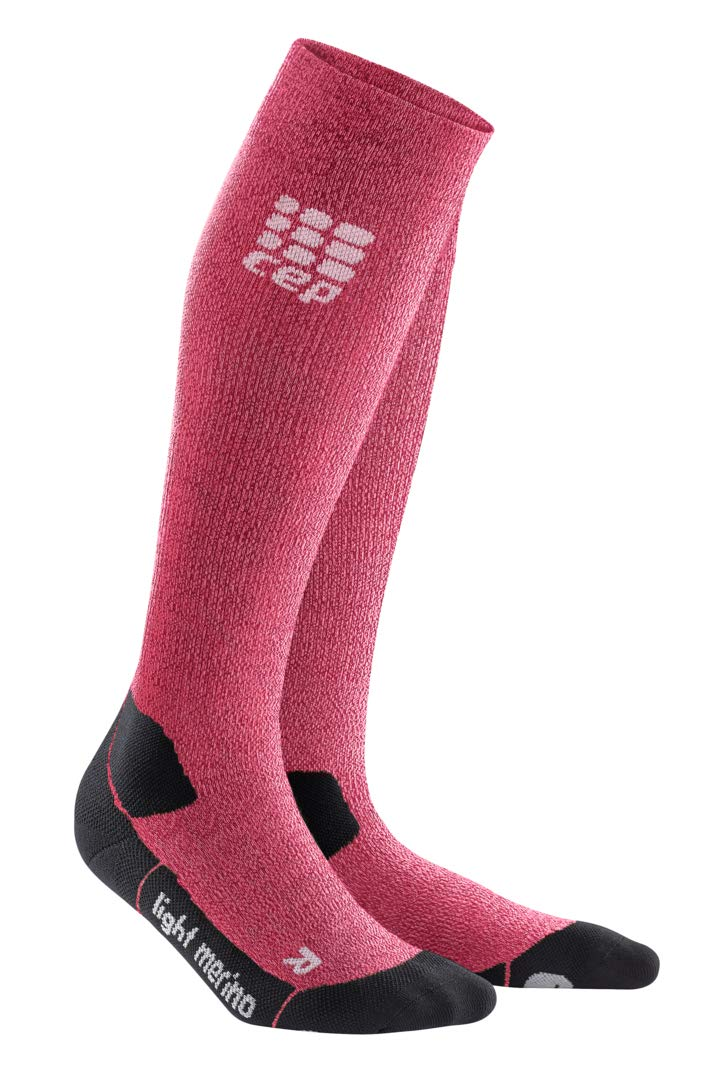CEP Womens Long Compression Wool Hiking Sock Light Merino (Deep Magma) 2 by CEP